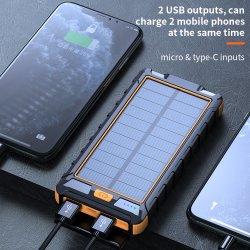 30000mAh OEM Banque d'énergie solaire haute capacité de batterie externe portable Powerbank solaire Chargeur de téléphone mobile