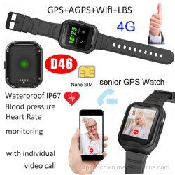 4G le GPS tracker Smart montre téléphone portable avec vidéo Appel d'Senior Citizen D46