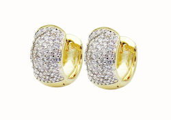 تصميم جديد مجوهرات الموضة 925 Sterling Silver صغيرة Huggie CZ حجر للبيع