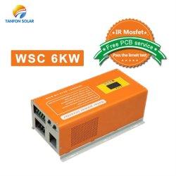 Преобразователь напряжения с контроллером 220Инвертор напряжения 6 квт инвертора солнечной энергии на 6000 Вт Чистая синусоида инвертор зарядное устройство