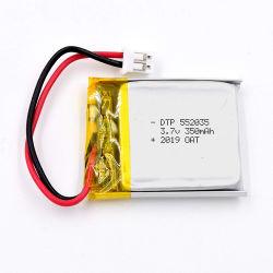 350mAh recarregável personalizados 3.7V DTP552035 Bateria de polímero de lítio