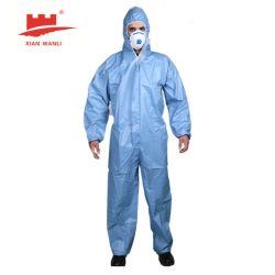 Wlo 3002 тип 56 Coverall EN14126 En MPH13034 EN13982-1: 2004 Микропористый пленки Coverall Non-Woven защитные безопасности Coverall от твердых пыли и мелких брызг воды