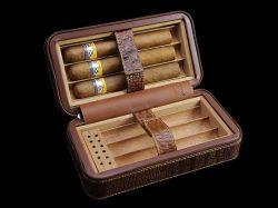 Cohiba el cuero de cocodrilo marrón Cigarros Humidores/Casos mantenga 6 Cigarrillos (ES-CA-001).