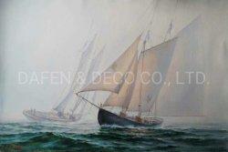Huile sur toile de voile dans la mer