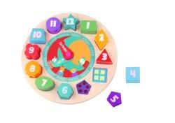 La forma de reloj de madera color ordenar la enseñanza de los Bloques Número de apilamiento rompecabezas rompecabezas clasificador Montessori Aprendizaje Temprano de Regalo de juguete educativo para niños