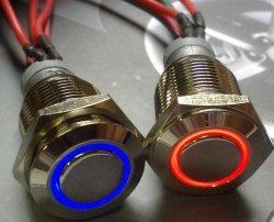 Edelstahl-Metalldrucktastenschalter mit Kabel und Licht (Lampe)