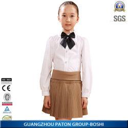 La escuela primaria Diseño uniforme camisa blanca y falda de color caqui