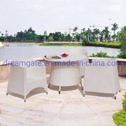 Grossista clássico estilo moderno jardim exterior cozinha do Hotel Cafe Café Bar Metal Alumínio Praça redonda de vime retangular Longa Restaurante mesa de jantar de vidro
