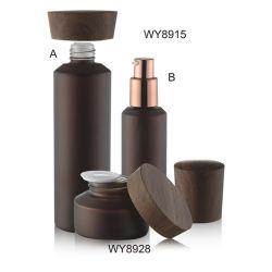 Solide de couleur brun foncé bouteille en verre de forme ronde de la vis bouchon de transfert de l'eau Artwork conteneur en verre et pot de verre 100ml 120ml 150ml 50g 40ml