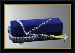 33PCS Machine Cut Blue Crystal Glass Rosary (k8)