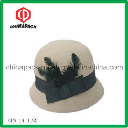 Wool beige Top Hat con Feather (CPA-14-1193)
