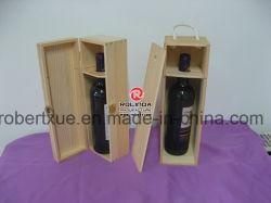 정연한 모양 단 하나 병 포장 미완성 소나무 나무로 되는 포도주 상자