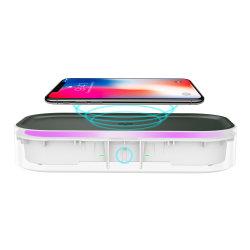 LED UV 자외선 소독 상자를 가진 2020 새로운 iPhone 또는 Samsung 또는 Huawei 지능적인 셀룰라 전화 이동할 수 있는 메마른 상자 빠른 무선 충전기