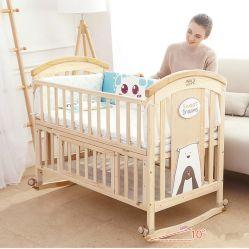 最新の家具の赤ん坊部屋の家具の純木の赤ん坊のコンバーチブルのまぐさ桶