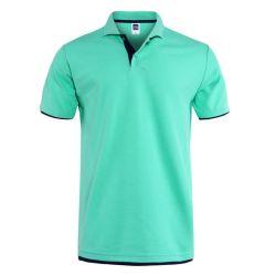 Короткое замыкание втулку мягкого хлопка Пике поло настроить моды высокого качества рубашки поло с 2 уровнями манжеты и нижней части