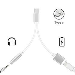携帯電話のための3.5mmのコネクターのアダプターへの携帯用タイプC 3.5 mmのへの1つのタイプCに付き2つ充電器のヘッドホーンの可聴周波ジャックUSB Cケーブルの