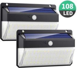 Usine 2020 Newest lumière solaire 108 conduit Outdoor 1000 Lumen le capteur de mouvement Wall Lamp Lampe LED solaire Jardin Solaire feux en plein air mur solaire lumière