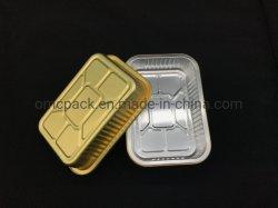 رقاقة معدنية تبعد لوحة الخبز صينية تسليم السوشي حاوية صينيات ورق ألومنيوم صغيرة للاستعمال مرة واحدة مع غطاء