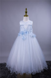 패션 아름다운 여름 공식 슬리브리스 자수 키드 생일 파티 프린세스 드레스