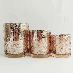 3 bougies rondes roses dorées porte-bougie chauffe-plat en verre pour mariage décor de maison, porte-bougie porte-bougie en verre coloré