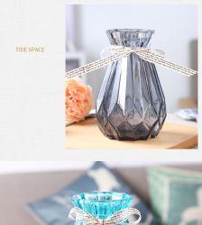 ヨーロッパの創造的なガラスの花瓶色の乾燥した花の水文の技術ガラス リビングルームデコレーションフラワーアレンジメント花瓶