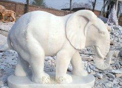 La décoration d'éléphant de marbre blanc de la taille de la vie de figurines sculptées en pierre Animal