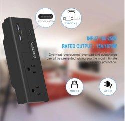 2 afzet ons de Contactdoos van de Muur van de Adapter type-C van de Reis USB