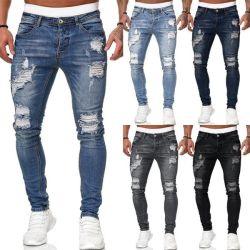 Homens Ripado Skinny Rua Lápis Jeans Denim
