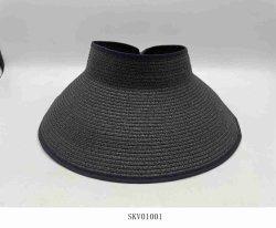 Faltbare Papier Schwarz Stroh Sonnenvisier Modische Sommer Cap Hut