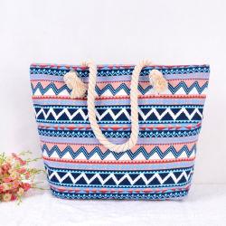 粋な余暇の女性のための幾何学的な麻ロープのキャンバス袋