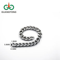 Fashion Chain glanzend Zilver 5.8 mm Messing metalen kettingen voor Kledingdecoratie