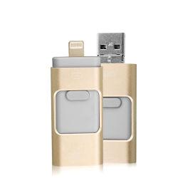 شريحة ذاكرة برق صغيرة مخصصة من OEM شعار هدية مخصص محرك أقراص محمول صغير 3 في 1 OTG USB