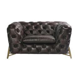Китайский современный классический стиль гостиной Домашняя мебель старинные деревянные рамы Честерфилд кожаный диван для отдыха