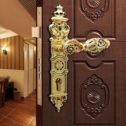 Serratura commerciale della maniglia di portello dell'oro dell'hotel con il piatto