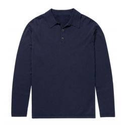 Camicia di polo merino delle lane del manicotto lungo su ordinazione degli uomini
