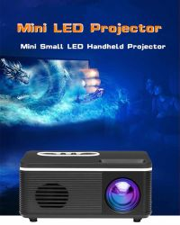 يدعم جهاز العرض الصغير المحمول من نوع LED HDMI مشغل الفيديو عالي الوضوح بدقة 1080p Home Media Player مكبر صوت مدمج - قابس الاتحاد الأوروبي الأبيض