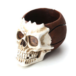 Houder van de Pen van het Skelet van het Basketbal van de Organisator van de Borstel van de Make-up van de Schedel van de Hars van de Decoratie van Halloween de Hoofd