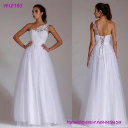 Blanc A d'Un-Épaule de robe de mariage de lacet - la ligne lacent vers le haut la robe nuptiale de longueur d'étage