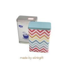 Barato preço retangular de impressão personalizado Lata Caixa de armazenamento pode preparar chá e café