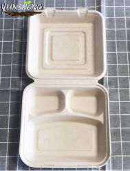 """Wegwerf Eco nehmen die freundliche 8 3-Compartment """" X8 """" Bagasse heraus, um zu gehen Nahrungsmittelbehälter mit Kappen für Mittagessen-Salat-Mahlzeit-Vorbereitungs-Ablagekasten-übrig gebliebenes Mikrowellen-Safe"""