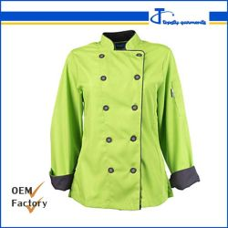 Verde Double-Breasted personalizados de sarga de algodón de manga larga camisetas cocinero