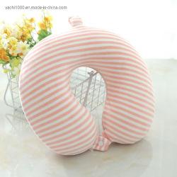 Stripe Impresso Plush espuma de memória em forma de U pescoço travesseiro para viagens
