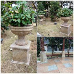 Granit G682 Carving Stone, Stone Flower Pot für Garten, Outdoor