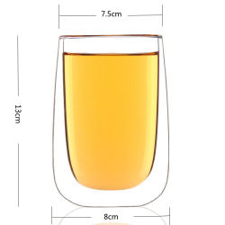 400ml de doble pared forma de huevo de jugo de café de cristal de la copa de vino