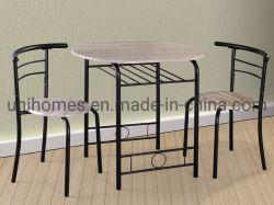 Atacadista de 3 Peças Conjunto Sala de jantar moderna cozinha de madeira Mesa Redonda e cadeira defina W/vinho embutido Rack, Black Mesa de jantar direto de fábrica