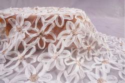 منتج جديد تولين ماش تتين نسيج Lace لبستان الزفاف التزييخ الأبيض الدريري