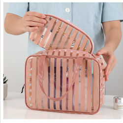 PVC transparent clair de stockage étanche de sacs de lavage de deux poignées composent Sacs pour Dames beauté portable cas