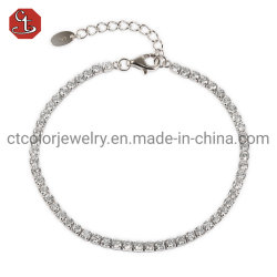 Hochwertige neue Mode Schmuck Prong Einstellung AAA CZ 925 Armband und Armreif in Silber