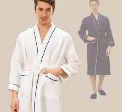100% хлопок отель халаты в белый цвет с рельефным вафельным, бархат, махровые полотенца и коралловым флис ткань