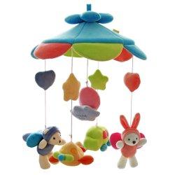 Het Plastiek die van de voederbak het Muzikale Mobiele Stuk speelgoed van de Klok van het Bed roteren